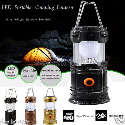Portable LED USB Solar Rechargeable Lantern Outdoor Camping Hiking Lamp Light