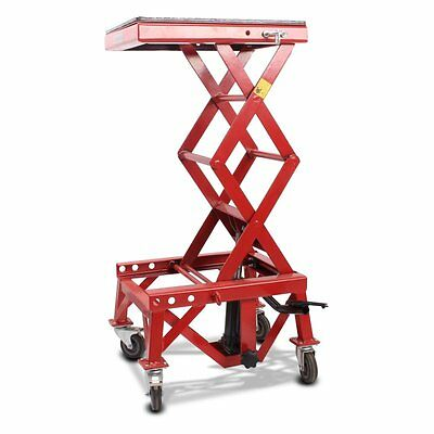 Hydraulic scissor lift ConStands Moto Cross XL workshop table wheels red