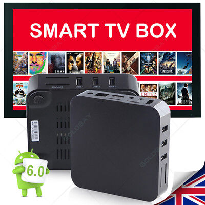 Quad Core Android 6.0 Internet PRO OTT TV Box WIFI Streaming Sports Cartoon UK