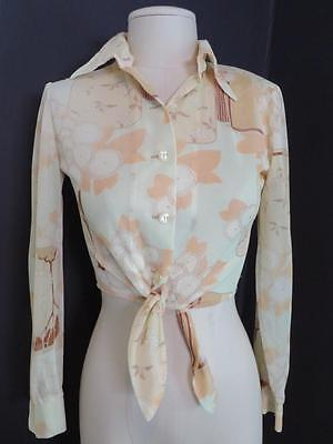 Vintage 1970's sheer nylon You Babes butterfly collar crop top blouse shirt M