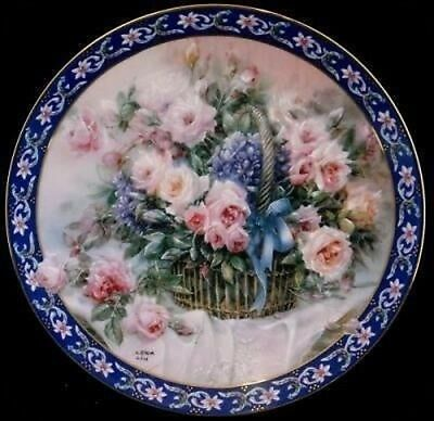 Lena Liu Roses Basket Bouquet Collector Plate