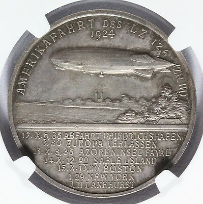 1924 Germany Silver Zeppelin World Tour Medal - NGC MS 63 - Kaiser-449 LZ-126