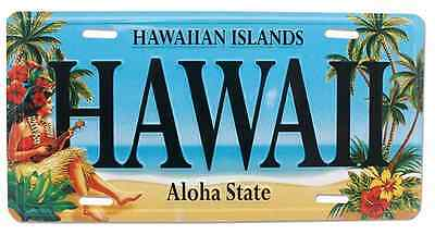 Hawaiian Vintage Hula Girl Hawaii Novelty License Plate Island Decor Tiki Bar NB