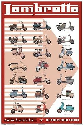 LAMBRETTA ~ 21 SCOOTERS 24x36 POSTER Innocenti Motor Scooter NEW/ROLLED!