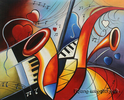 Modern Handmade Home Decor Music abstract oil painting wall art on Canvas H2183