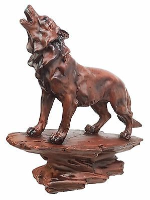 Faux Wood Wildlife Nature Night Moon Howling Wolf Figurine Timberwolves Statue