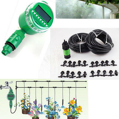 67ft Garden Patio Misting Irrigation Cooling 20 Mister Nozzle & Timer Controller