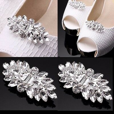 1Pair Sparkle Wedding Bridal Diamante Crystal Shoe Clips High-Heel Decoration UK