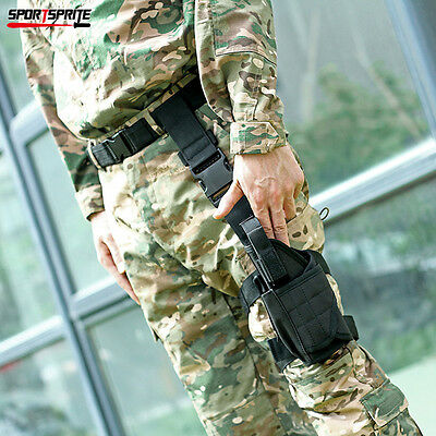Tactical Universal Pistol Drop Leg Left Hand Holster Pouch Black For Hunting