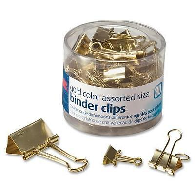 OIC 31022 Assorted Size Binder Clips - 30 / Pack - Gold