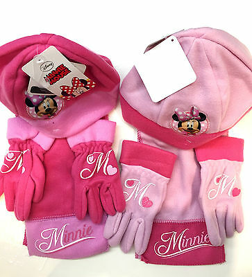 Disney Minnie Mouse Hat Scarf Gloves Pink Toddler Winter Outfit Set Clothes