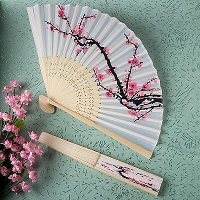 6 X Hand Held Folding Delicate Cherry Blossom Silk Fans Wedding & Party Favours
