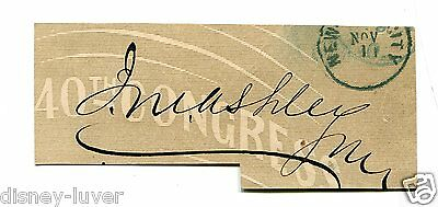Vintage Cut Signature JAMES MITCHELL ASHLEY US Rep OH Governor Montana Terr 1860
