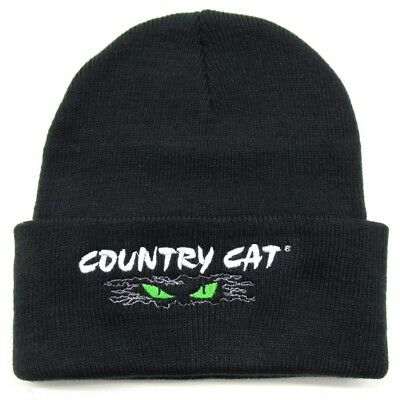 Country Cat Eyes Logo Black Stocking Hat Cap Watchman 100% Acrylic - Adult Size