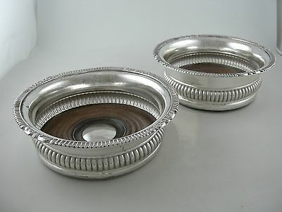 Silver plated wine coasters with wood insets and silver center (Ca. 1900) PAIR