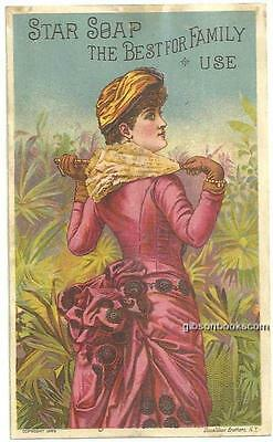 Victorian Trade Card for Schultz's Star Soap with Lovely Lady in a New Dress