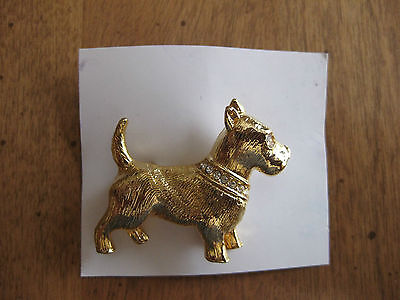Fox Terrier Brooch Gold Tone