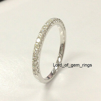 Moissanite Wedding Band!Anniversary Ring,14K White Gold,1.5mm Round,Stackable