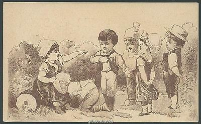 Victorian Trade Card for A.S. Melcher and Son Boots with Children Playing