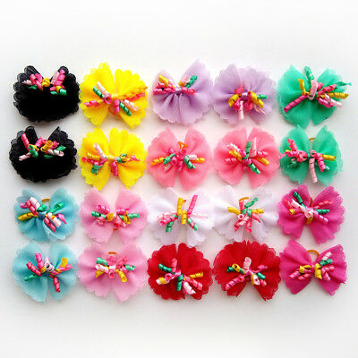 New Dog Hair Bows Rubber Bands Curves Styles Dog Topknot  Pet Grooming Product