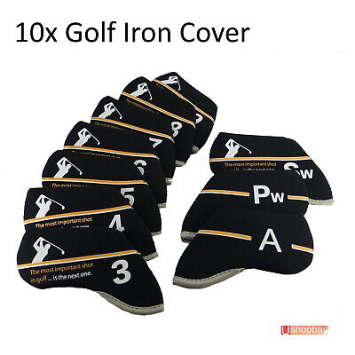 10 x Golf Iron Club Covers Callaway Titleist Taylormade Ping bag Great Shot B/W