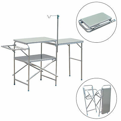 Outsunny Folding Picnic Table Portable Camping Dining Aluminum BBQ Kitchen Desk
