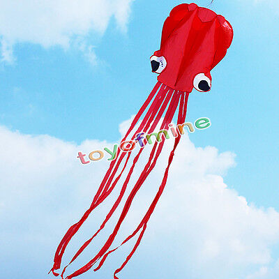 4M Single Line Stunt Red Octopus Power Sport Flying Kite Outdoor Activity Toy