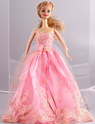 GORGEOUS Handmade Pink The original soft clothes dress for barbies doll 1089