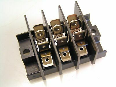 "Weco Faston Distribution Block 4 Barrier 3 Pole x 6 x 1/4"" Spades 25A 400V OM442"
