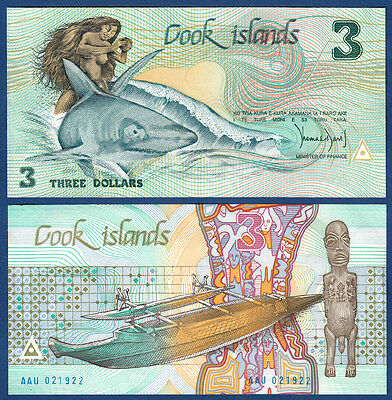 COOK ISLANDS 3 Dollars (1987)  UNC  P.3