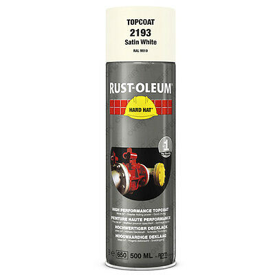 x1 Ultra-High Coverage Rust-Oleum Satin White Spray Paint Hard Hat RAL 9010