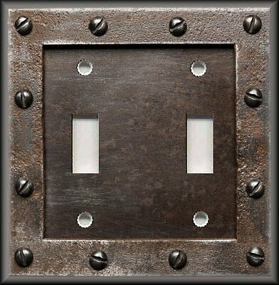 Light Switch Plate Cover - Rustic Iron Image Screws - Steampunk/Home Decor