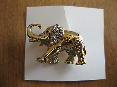 Elephant Brooch Gold Tone   New