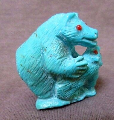Zuni Amazing Turquoise Bear w/ Cub by Master Carver Derrick Kaamasee C1106