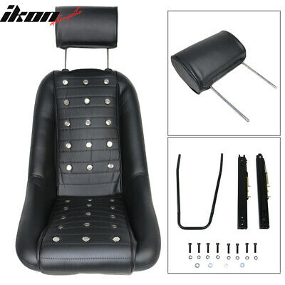 Mid-Sized Classic Bucket Seat w/ Sliders in Black Polyurethane Faux Leather