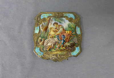 Italian Vintage 800 Silver Enamel Compact The Bird Cage Lovers