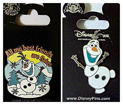 Disney Parks 2 Pin Lot FROZEN Olaf + All my best friends are flakes pins