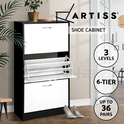 Artiss 36 Pairs Shoe Cabinet Rack Wooden Storage Organiser Shelf 3 Components
