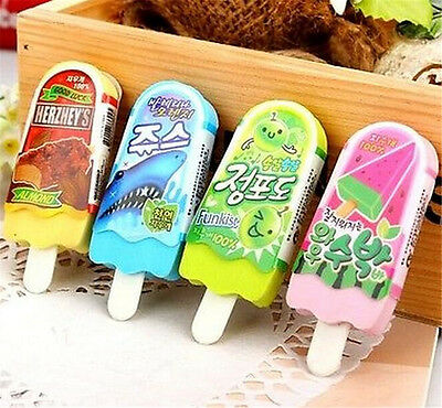 FD3865 Cute Ice Cream Popsicle Eraser Rubber Pencil Stationery Child Toy 1pc✿