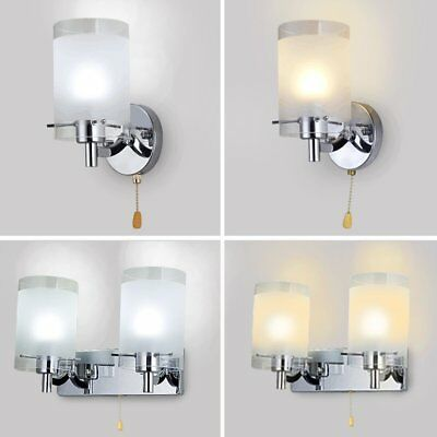 Modern Silver Chrome & White Glass Indoor Wall Lights Sconce Lamp Light Fittings