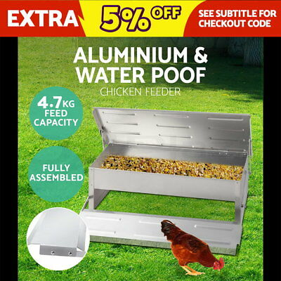Automatic Aluminum Chicken Chook Poultry Feeder Treadle Feed Fully Assembled
