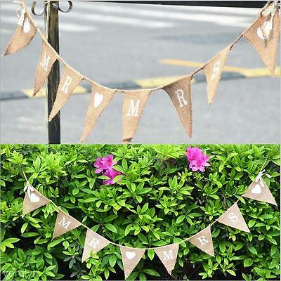 High Quality Hessian Bunting Triangle Flags Mr&Mrs Wedding Party Strap Banner