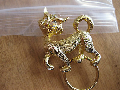 Cat  Brooch Gold Tone