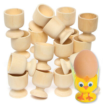 Wooden Egg Cup for Kids to Paint, Decorate & Personalise for Easter (Pack f 6)