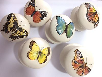 "Handpainted & Decoupaged Butterfly Large 2"" Dia Cream Wooden Drawer Knobs x 6"
