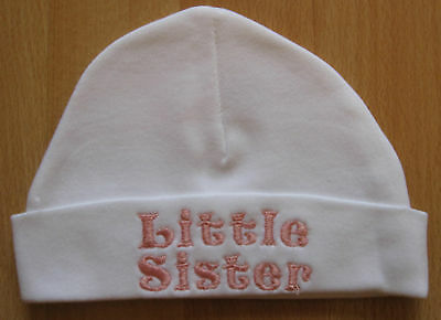 Little Sister Embroidered Baby Girl Hat