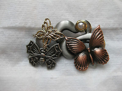 Original Love Butterfly Heart  Brooch Color Copper,gold ,silver & Pearl