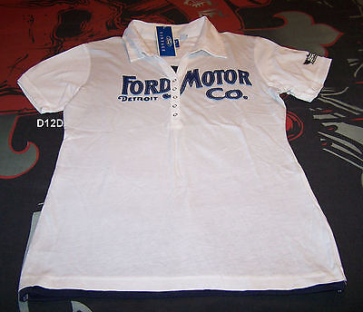 Ford Heritage Ladies White Navy Printed Short Sleeve Polo Shirt Size 12 Marked