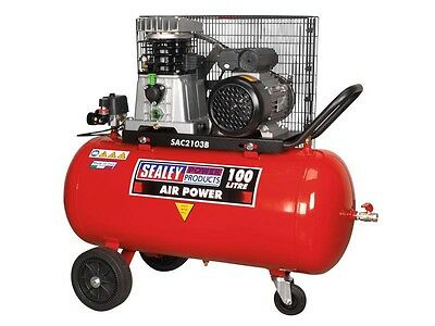 Sealey SAC2103B Compressor 100ltr Belt Drive 3hp with Cast Cylinders and Wheels