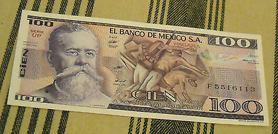 1982 Mexican Cien  Paper Money Banknote Vintage Old